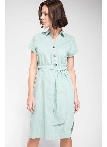 DeFacto Kuşak Bağlamalı Gömlek Elbise  Yeşil